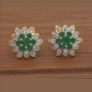 18k Gold Filled Garnet Zircon Earrings